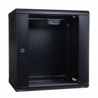 Digitus Wall mount cabinet 19 12U 635/600/450mm, glass door, black (RAL 9004)