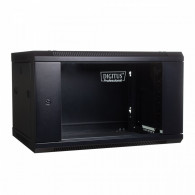 Digitus Wall mount cabinet 19 6U 368/600/450mm, glass door, black (RAL 9004)