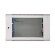 Extralink Wall cabinet rack 4U 600x450 gray glass door