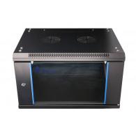 Extralink Wall cabinet rack 6U 600x450 black glass door