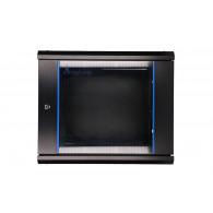 Extralink Wall cabinet rack 9U 600x600 black glass door