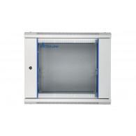 Extralink Wall cabinet rack 9U 600x600 gray glass door