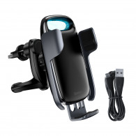 Baseus Milky Way gravity car mount with Qi 15W induction charger (black)