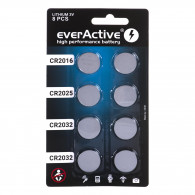 8 lithium battery set everActive 4 x CR2032, 2 x CR2025, 2 x CR2016
