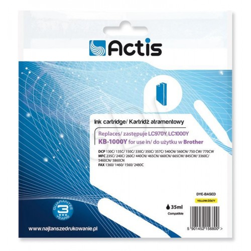 Ink ACTIS KB-1000Y (replacement Brother LC1000Y/LC970Y; Standard; 36 ml; yellow)